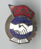 Insigna cu TALPA - CGM Confederatia Generala a Muncii - 1950 - RPR