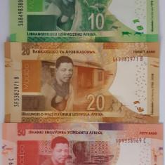 Bancnota Africa de Sud 10, 20 si 50 Rand 2018 - PNew UNC ( centenar Mandela x3 )