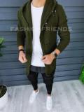 Cardigan barbati kaki cu gluga slim fit ZR T3559