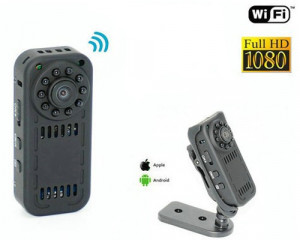 Mini Camera Spion iUni IP31, Full HD 1080p, Wireless, Unghi 140 grade, Audio-Video, Senzor de Miscare, Night Vision, P2P
