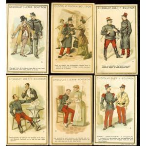 Cartonase colectie, ciocolata Guerin-Boutron, glume legate de uniforme