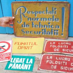 LOT 6 PLACUTE / PANOURI VECHI DE INFORMARE / AVERTIZARE - DIN TABLA EMBOSATA
