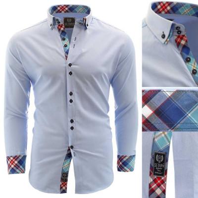 Camasa pentru barbati bleu slim fit elastica casual cu guler alexandria foto