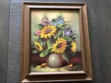 Tablou ,pictura in ulei ,pe panza, vaza cu flori