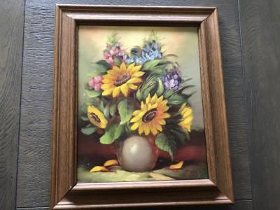 Tablou ,pictura in ulei ,pe panza, vaza cu flori foto