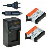 Kit Jupio, 2 Acumulatori GoPro Hero4 AHDBT-401, 1160 mAh, si Incarcator Compact cu Baza dubla si Port USB, Negru