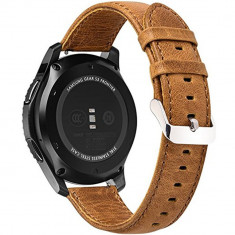 Curea piele Smartwatch Samsung Gear S3, iUni 22 mm Vintage Brown