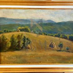 """Tablou, Hincu L., """"Deal la amiază"""", ulei pe pânză, 43x58 cm"""