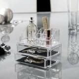Organizator transparent cosmetice cu 2 sertare