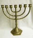 Sfesnic evreiesc din bronz prevazut cu sapte brate - MENORAH