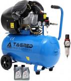 Compresor de Aer cu Ulei Tagred Mobil, in 2 pistoane, 50L, 4.1 CP, 8 Bar, 380L/min, ulei cadou