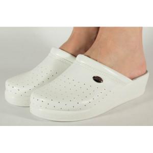Saboti/Papuci medicinali albi piele naturala (cod 7734)