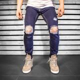 Blugi pentru barbati, bleumarin, slim fit, conici, casual, skinny, rupturi genunchi - 0056, 30 - 33, 36, Lungi