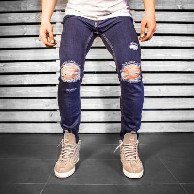 Blugi pentru barbati, bleumarin, slim fit, conici, casual, skinny, rupturi genunchi - 0056 foto