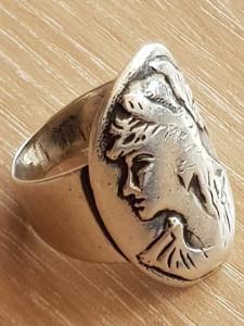 Inel epoca argint - camee - inel vechi