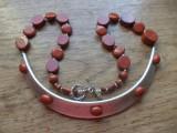 Colier poppy jasper si zamac argintat