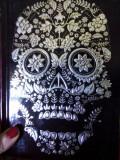 Agenda/jurnal lux neagru&CRANIU argintiu SANTA MUERTE,jurnal magie/pag argintii