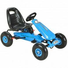 Kart cu pedale pentru copii, PK2 albastru, cu roti gonflabile din cauciuc