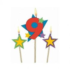 Lumanari jumbo cu cifra 9 si stelute colorate set 3 buc