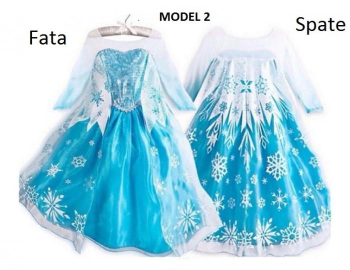Rochita Elsa cu trena lunga , Rochie Frozen, petrecere 3, 4, 5, 6, 7, 8 ani