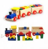 Trenulet din lemn cu 2 vagoane
