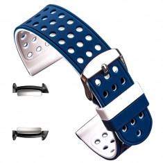 Curea silicon cu doua fete, adaptoare compatibile Samsung Gear Fit 2, Albastru/Alb