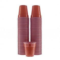 Pahare Plastic Unica Folosinta, 166 ml, 100 Buc/Set, Culoare Maro, Pahare din Plastic Tonomate, Pahare Maro de Unica Folosinta, Pahar pentru Tonomatel