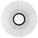 Oglinda decorativa Sun, din metal, negru, diametru 59cm