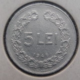 (MR16) MONEDA ROMANIA - 5 LEI 1948, REPUBLICA POPULARA ROMANA, IN CARTONAS, Aluminiu