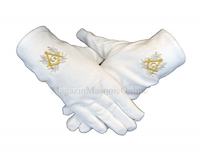 Manusi masonice albe cu simbol auriu si lauri foto