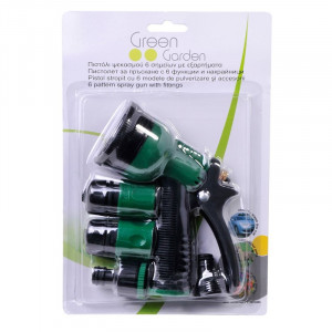 Set pistol stropire Green Garden, 6 capete incluse