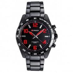Ceas de mana barbati business, negru/rosu Curren - M8107NSR