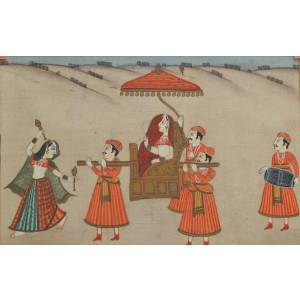 Veche pictura indiana pe matase