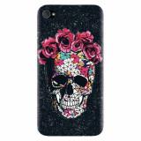 Husa silicon pentru Apple Iphone 4 / 4S, Colorful Skull Roses Space