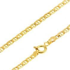 Lanț din aur - zale lucioase plate și mici despărțite de un pivot, 550 mm