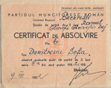 Partidul Muncitoresc Roman certificat absolvire scoala de partid 1952