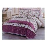 Cuvertură dublă, 3 piese, Bumbac 100%, model floral Purple