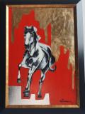 PICTURA, TABLOU modern decorativ, foita aur, nou, CAL IN GALOP nr.1,pictor roman, Animale, Ulei, Art Deco