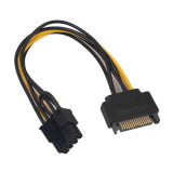 Adaptor alimentare placa video pci-e 6+2 pini de la 1 x s-ata, Active, 20cm, cablu data pcie 8pini