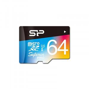 Card Silicon Power microSDHC Superior Pro 64GB UHS-I U3 Clasa 10 cu adaptor SD