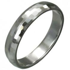 Inel din tungsten cu dreptunghiuri șlefuite, 3 mm - Marime inel: 52