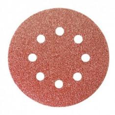 "Set 5 Discuri abrazive cu baza din fibra MTX P100 pentru ""lipire"", perforat, 125 mm"
