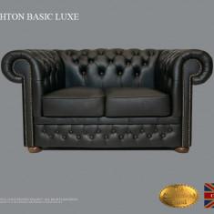 Canapea Chesterfield Basic Lux -Shiny Black  -2 locuri-Piele naturală
