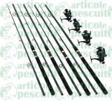 Set 4 Lansete Power 80g-150g Cu 4 Mulinete 6500 Bait Runner