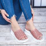Papuci Piele dama roz Planeria-rl