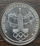 (A818) MONEDA DIN ARGINT RUSIA - 10 RUBLE 1977, JOCURILE OLIMPICE MOSCOVA 80 UNC