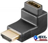 Adaptor HDMI tata -HDMI tata 90° culoare negru