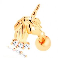Cumpara ieftin Piercing pentru ureche din aur galben de 14K - unicorn, linie din zirconii transparente
