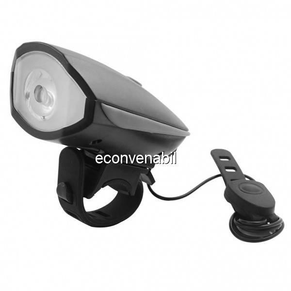 Lanterna LED 1W Far pentru Bicicleta cu Sonerie, pe Baterii FY056