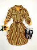 Cumpara ieftin Rochie ieftina casual stil camasa galbena si neagra cu linii verticale si cordon in talie